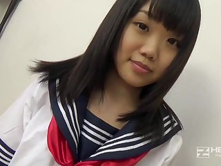 Asian honey, Natsuno Himawari is wearing her college uniform while getting smashed and fellating prick