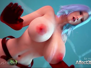 Superhero 3d animation with a big honkers beauty