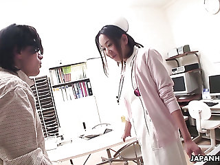 Aroused doctor is busy with fingering wet pussy of kinky nurse Mika Kojima