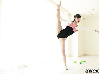 Flexible and pretty Japanese girlie Haruna does stretching and masturbates