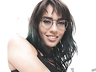 Naughty leggy nerdy brunette Janice Griffith exposes her booty before doggy