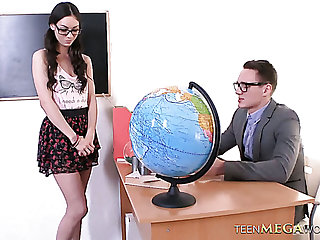 Naughty coed chick Arwen Gold gets fucked extremely hared in the college