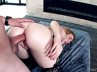 Buxom sweet Bonnie Grey takes firm cock into her pink asshole