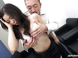Beautiful Japanese office hottie Yuka Tsubasa takes her boss's dick into twat